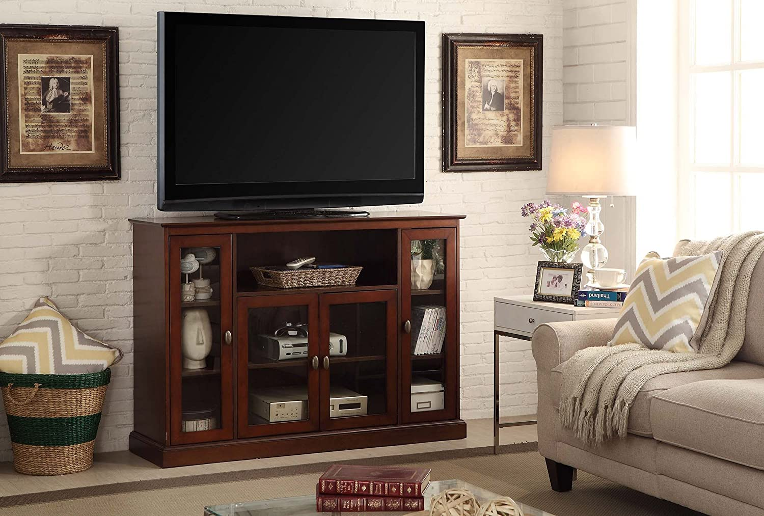 Details About Highboy Tall TV Stand Enclosed Media Storage Entertainment  Center Credenza New