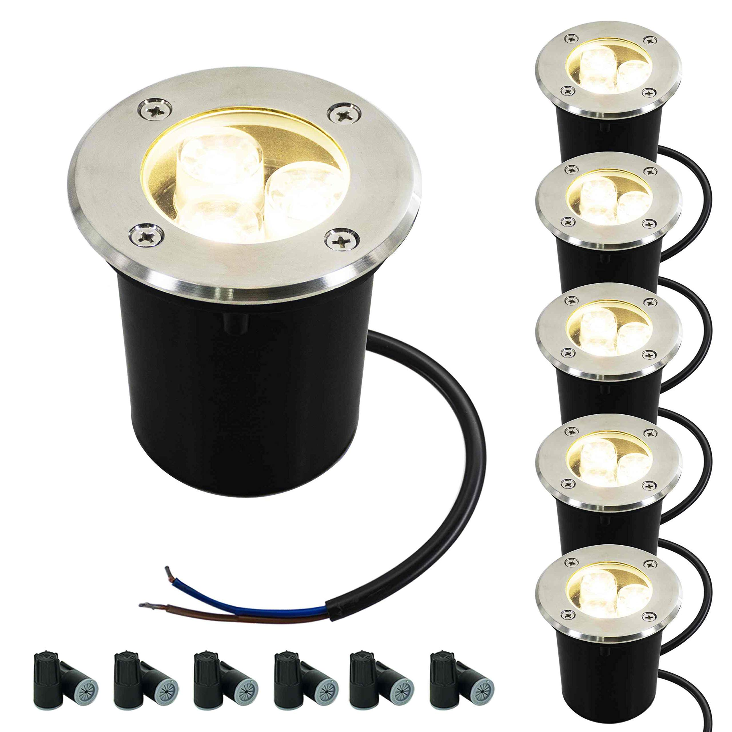 JESLED 3W LED In Ground Well Lights, 12V 24V 3000K Warm White, Low Voltage Landscape Lighting, IP67 Waterproof Outdoor Garden Pathway Lights for Driveway, Deck, Yard Tree, with Wire Connectors(6 Pack)