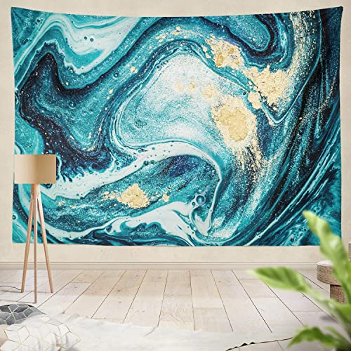 Soopat Tapestry Polyester Fabric Ocean Art Natural Luxury Swirls Marble Ripples Blue Gold Powder Liquid Flow Wall Hanging Tapestry Decorations for Bedroom Living Room Dorm 80X60 inch