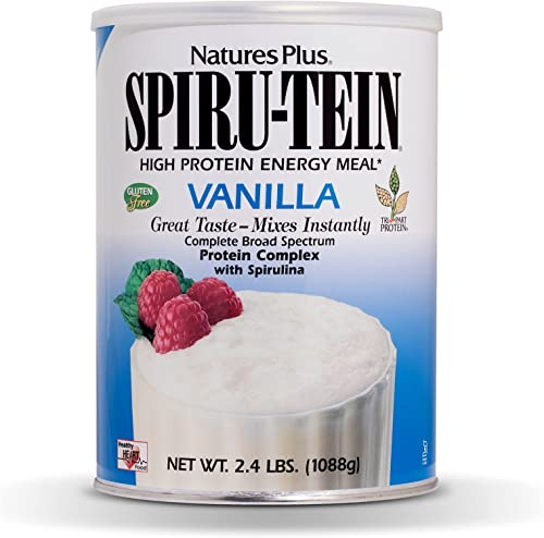 NaturesPlus SPIRU-TEIN Shake – Vanilla – 2.4 lbs, Spirulina Protein Powder – Plant Based Meal Replacement, Vitamins Minerals For Energy – Vegetarian, Gluten-Free – 32 Servings
