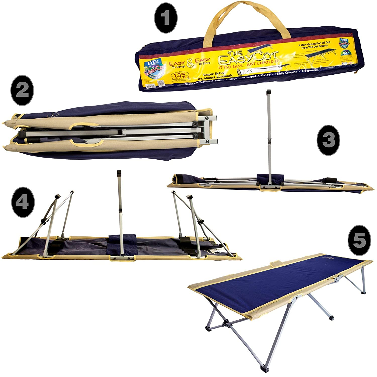 Easy cot BYER OF MAINE EasyCot Single//Twin Size Renewed Camp cot Indoor Guest Bed Ideal for Camping and Hunting