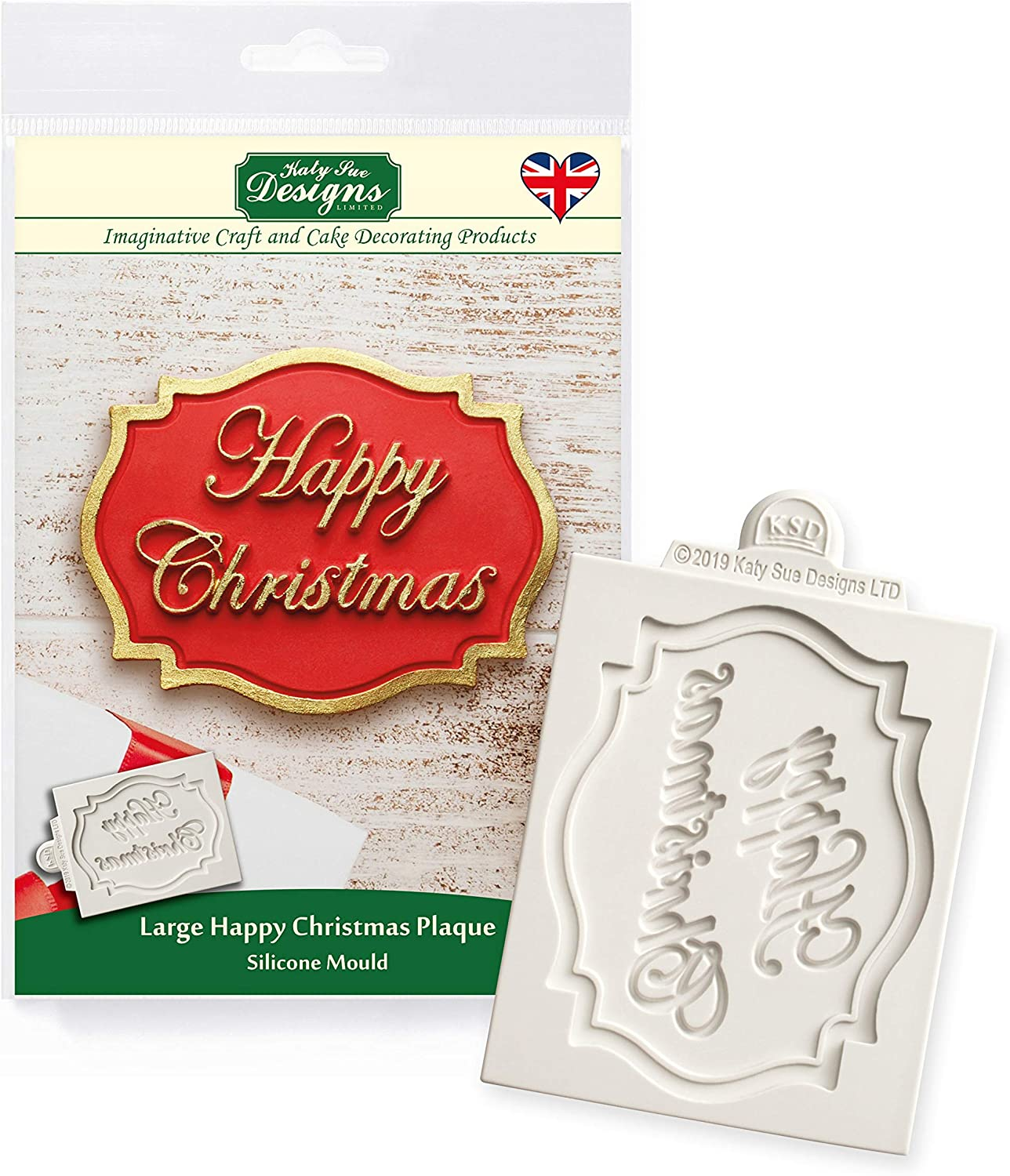 Katy Sue Large Happy Christmas Plaque Silicone Mold for Cake Decorating, Crafts, Cupcakes, Sugarcraft, Candies, Chocolate, Card Making and Clay, Food Safe Approved, Made in The UK