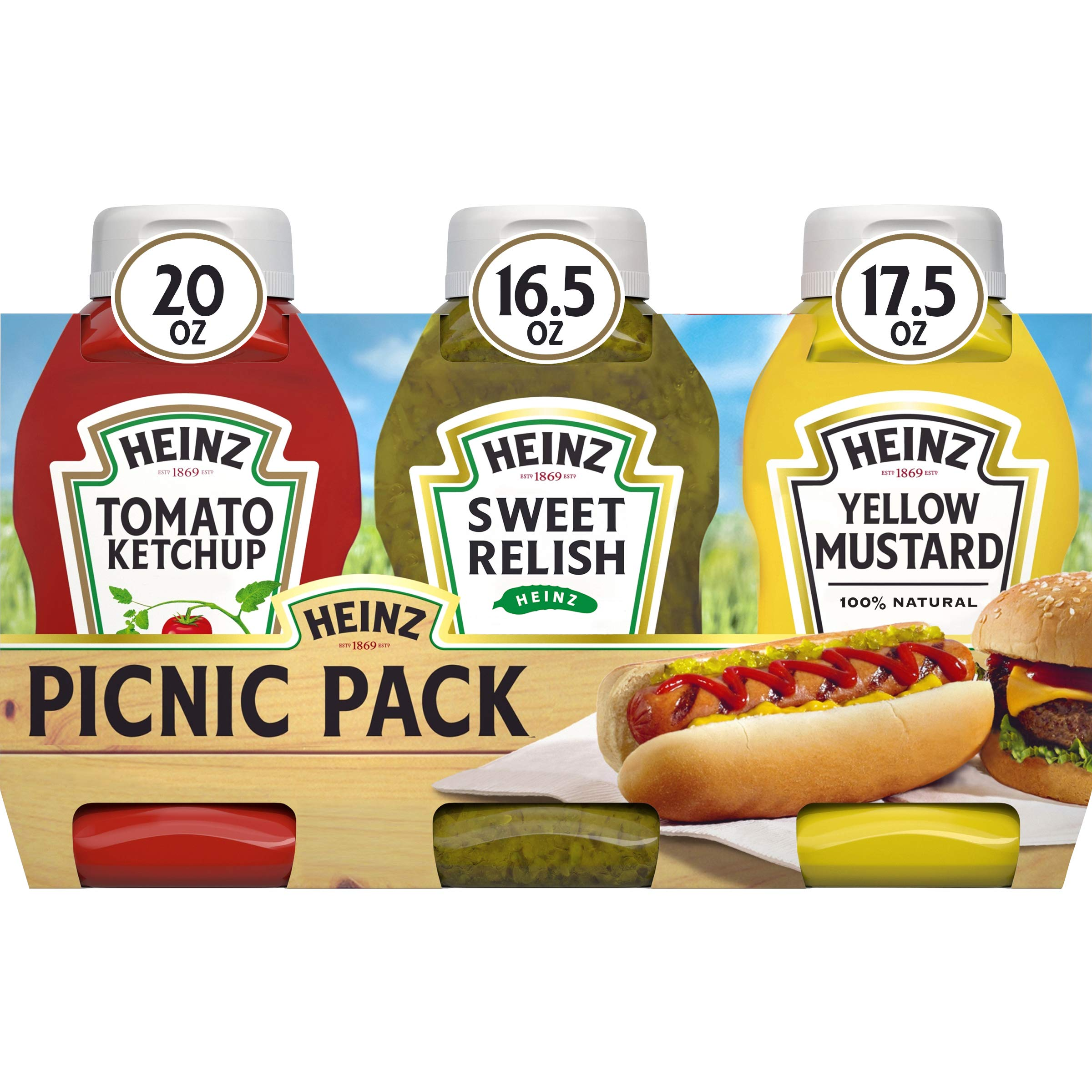 Heinz Ketchup, Sweet Relish & Yellow Mustard Variety Pack (12 Bottles, 4 Packs of 3)