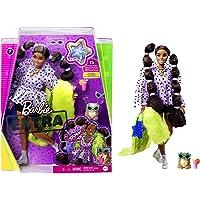 Barbie Muñeca Extra #7 Pulgadas, Parte Superior, Pantalones Cortos y Peludos con Pomerania, coletas largas con Lazos…