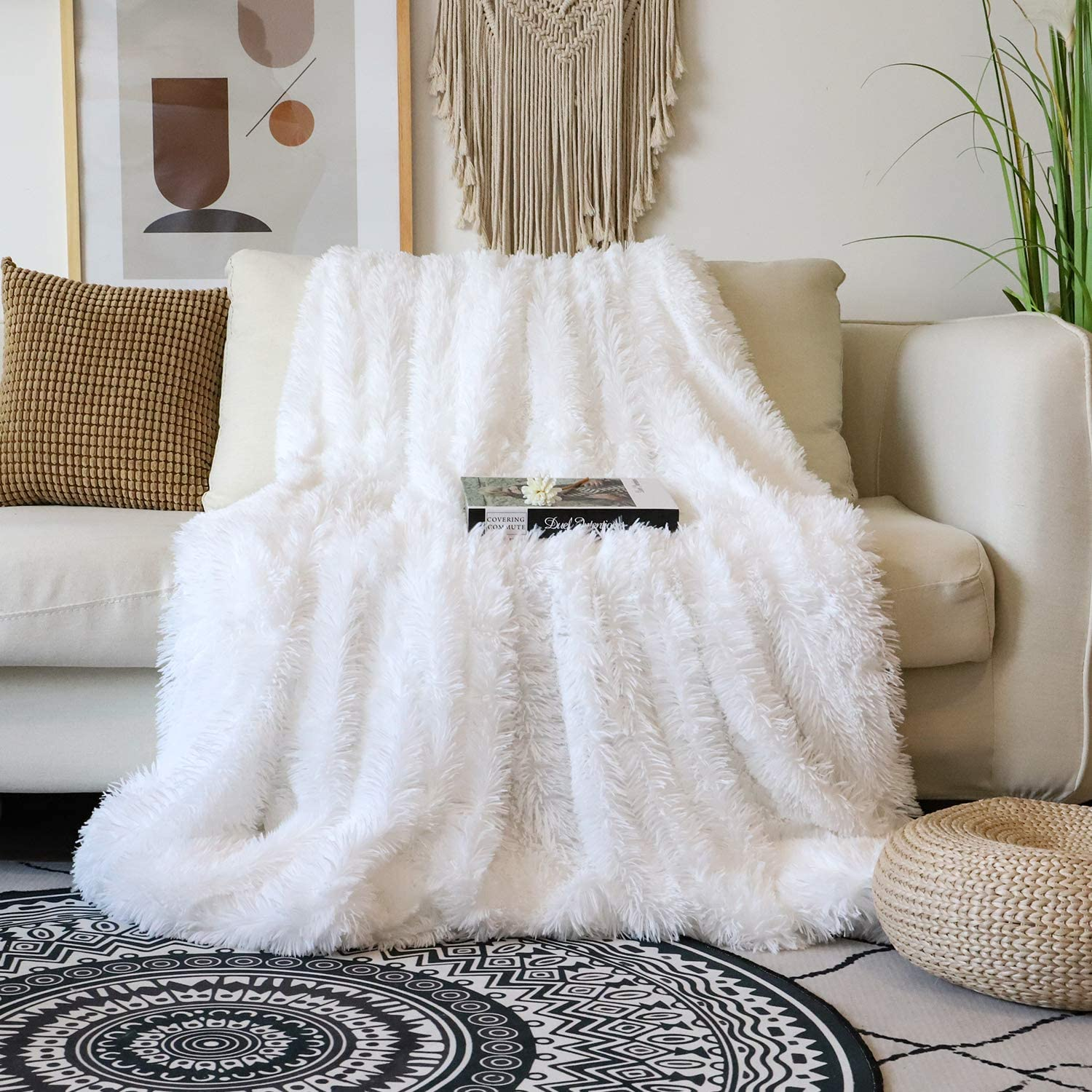 "Decorative Extra Soft Faux Fur Blanket Queen Size 78"" x 90"",Solid Reversible Fuzzy Lightweight Long Hair Shaggy Blanket,Fluffy Cozy Plush Fleece Comfy Microfiber Blanket for Couch Sofa Bed,Pure White"