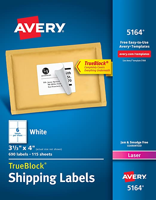 amazoncom avery shipping address labels laser printers 690 labels 3 13x4 labels permanent adhesive trueblock 5164 office products