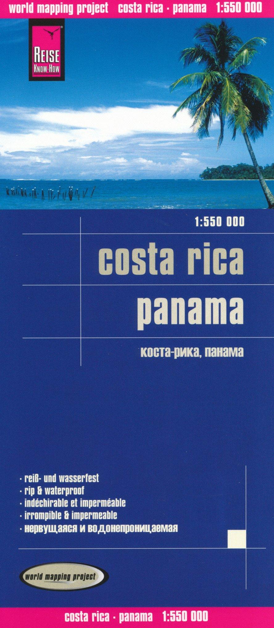 Panama & Costa Rica 1:550,000 Travel Map, waterproof, GPS-compatible REISE