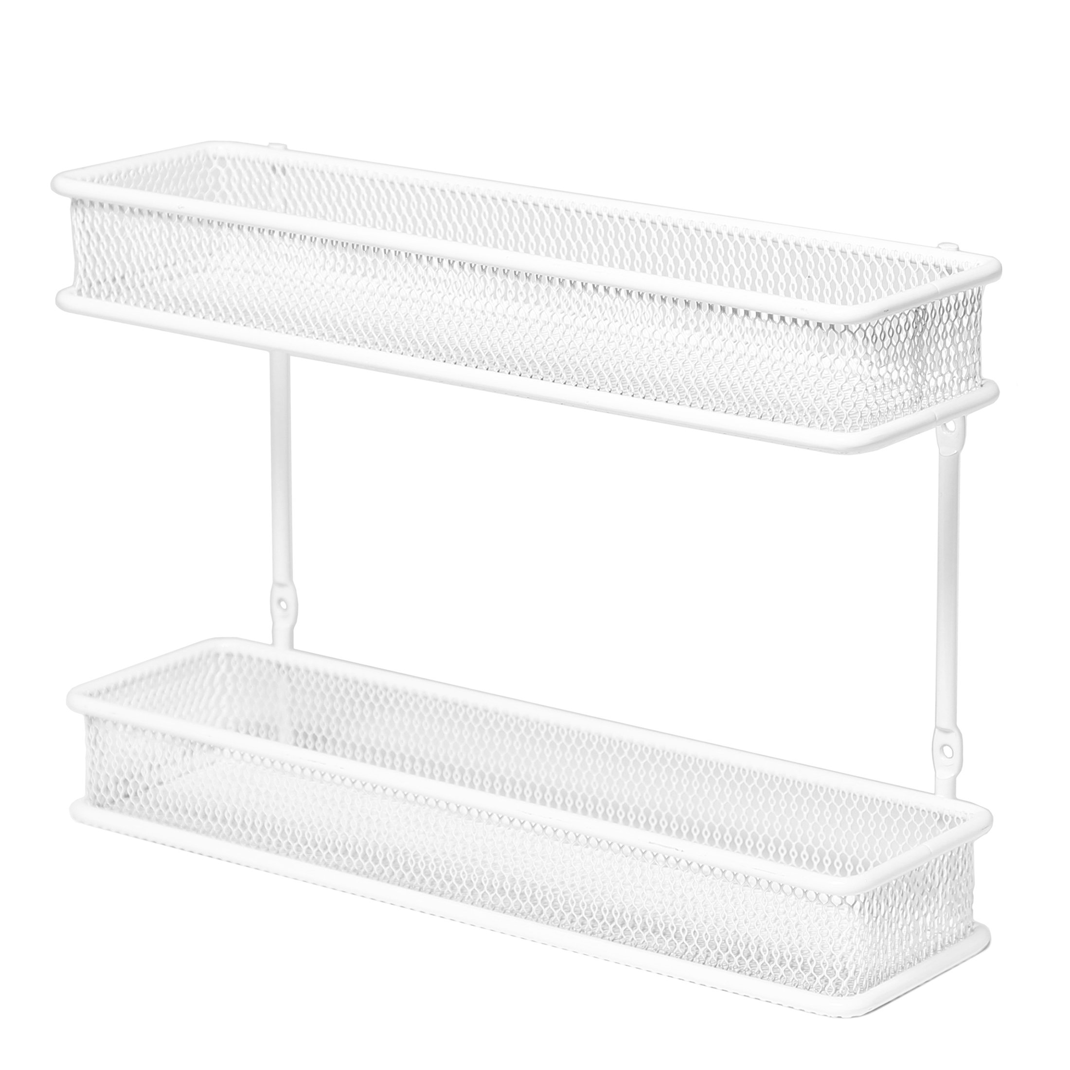 Seville Classics 2-Tier Countertop and Wall Mount Multipurpose Spice Rack Organizer, White