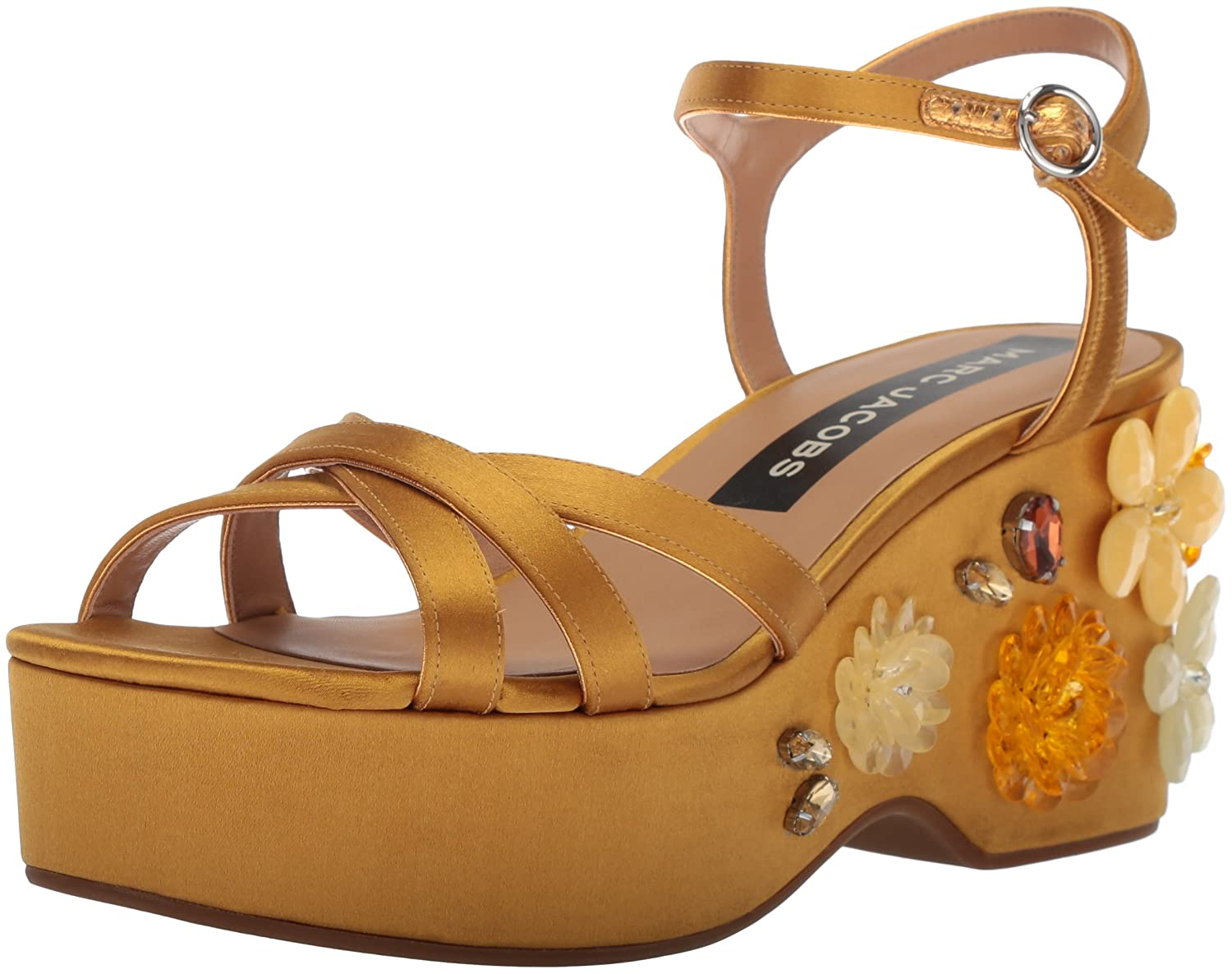 Marc Jacobs Women's Callie Embellished Wedge Sandal B075Y6M2JR 37.5 M EU (7.5 US)|Gold