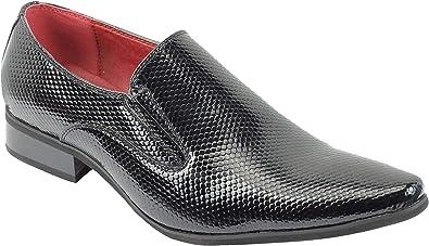 TALLA 45 EU. Hombres De Piel con Refuerzo Inteligente De Deslizamiento En Los Zapatos De Los Holgazanes De La Piel De Serpiente De Impresión Brillante De La Patente