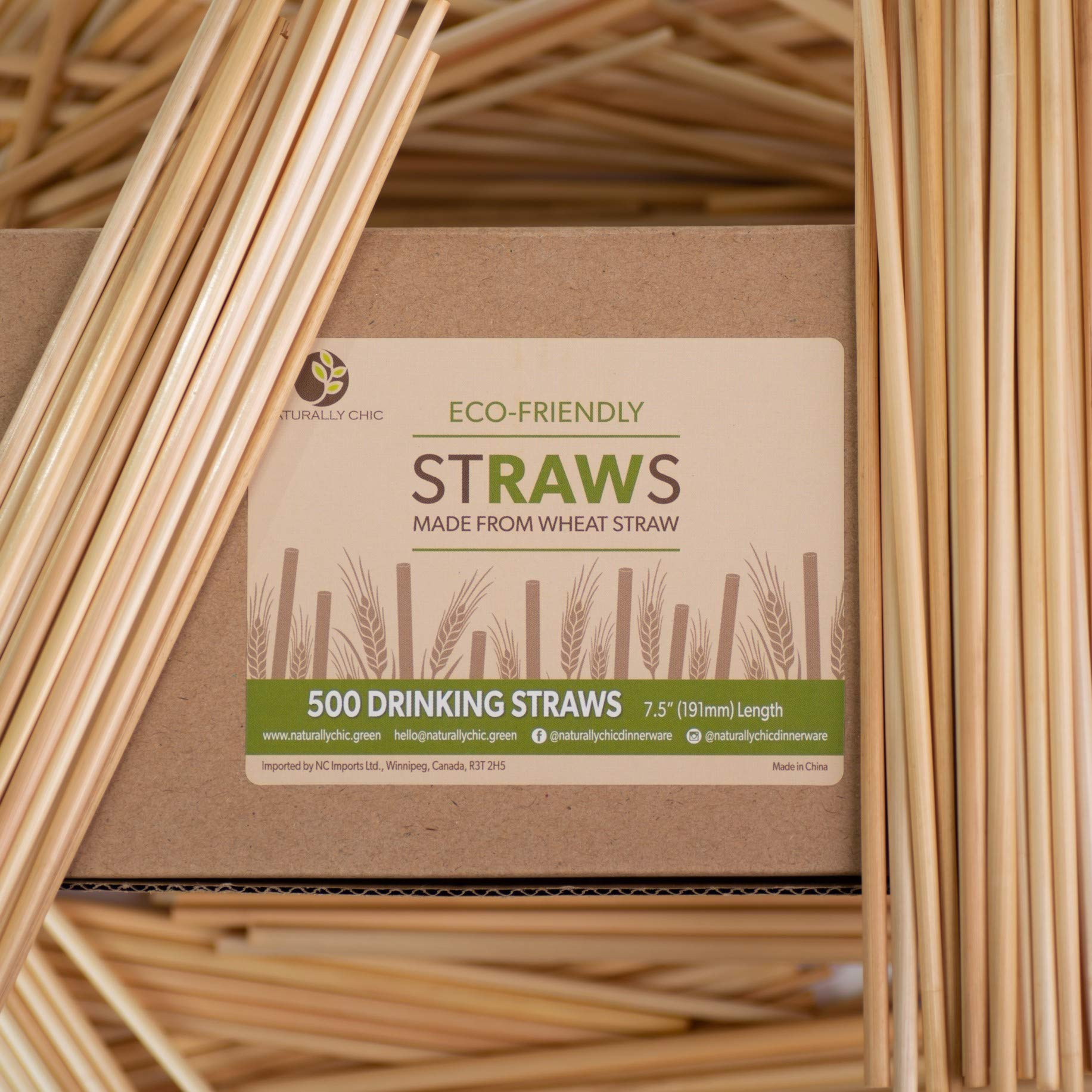 Naturally Chic Biodegradable Wheat Straws | 7.5 Inch Long Unwrapped Drinking Straws Made of Wheat Hay (Gluten Free) - Eco Friendly - Coffee, Restaurant, Bar, Party Bulk Straws - (1000 Pack) by Naturally Chic