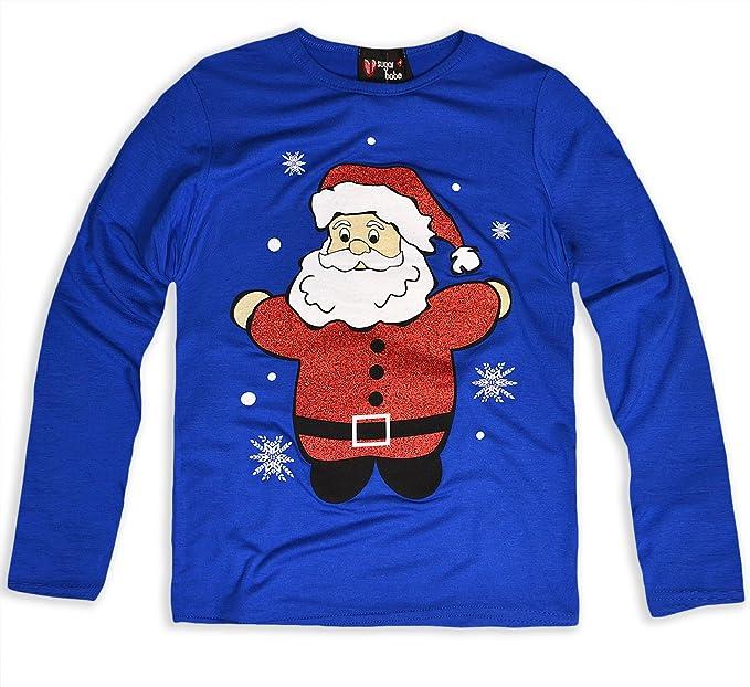 Girls Christmas Kids Glitter Nose Reindeer Face Printed Long Sleeve Xmas T Shirt
