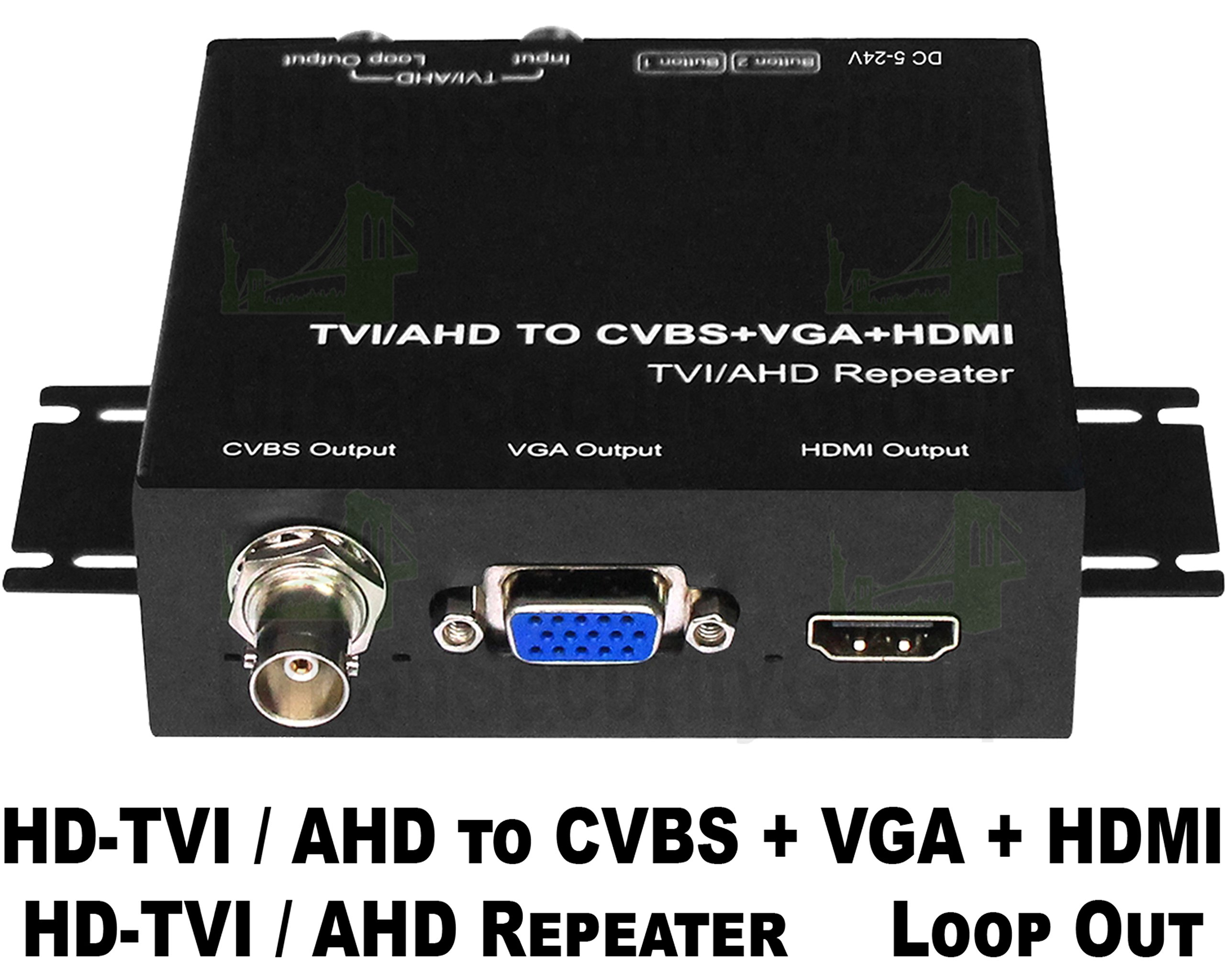 USG Business Grade HD-TVI and AHD Security Camera CCTV Format Signal Converter + Repeater + Loop Out : HD-TVI or AHD to HDMI + VGA + CVBS BNC + Loop Out : Up To 2MP 1080P : Power Supply Included