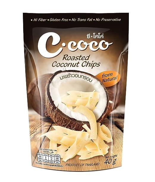 C Coco marca Roasted Fichas, Sabor Natural de Coco 40 g/1,43 ...