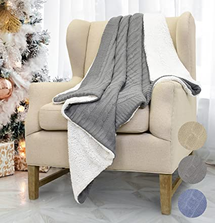 b8faff911 Amazon.com: Catalonia Cable Knit Sherpa Throws, Reversible Super Soft Sherpa  Sweater Blanket Warm Cozy for Couch Bed 60x50 Gray: Home & Kitchen