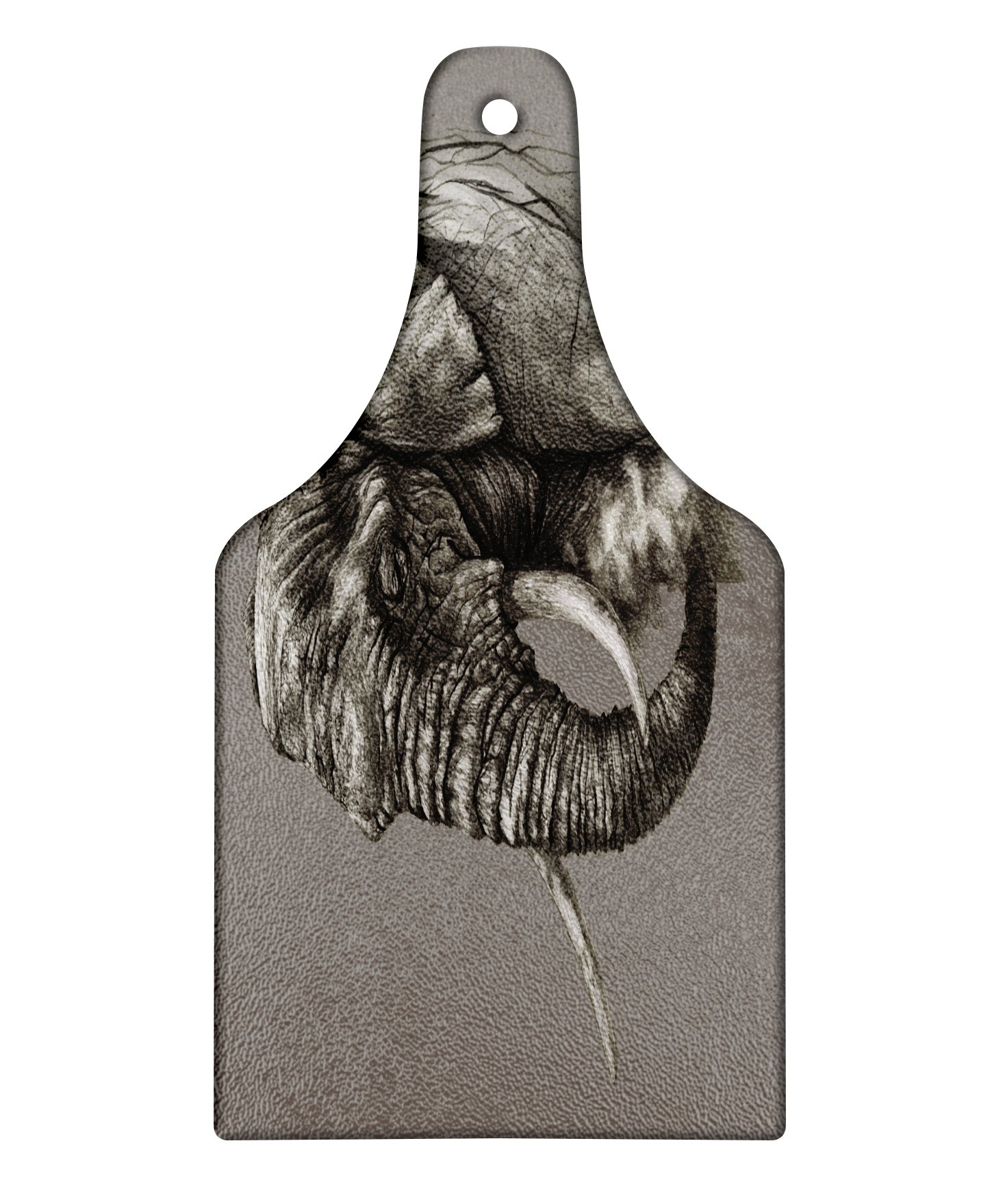 Lunarable Animal Cutting Board, Rough Sketch Portrait of African Elephant Safari Spiritual Mammal Artsy Picture Print, Decorative Tempered Glass Cutting and Serving Board, Wine Bottle Shape, Dark Grey by Lunarable