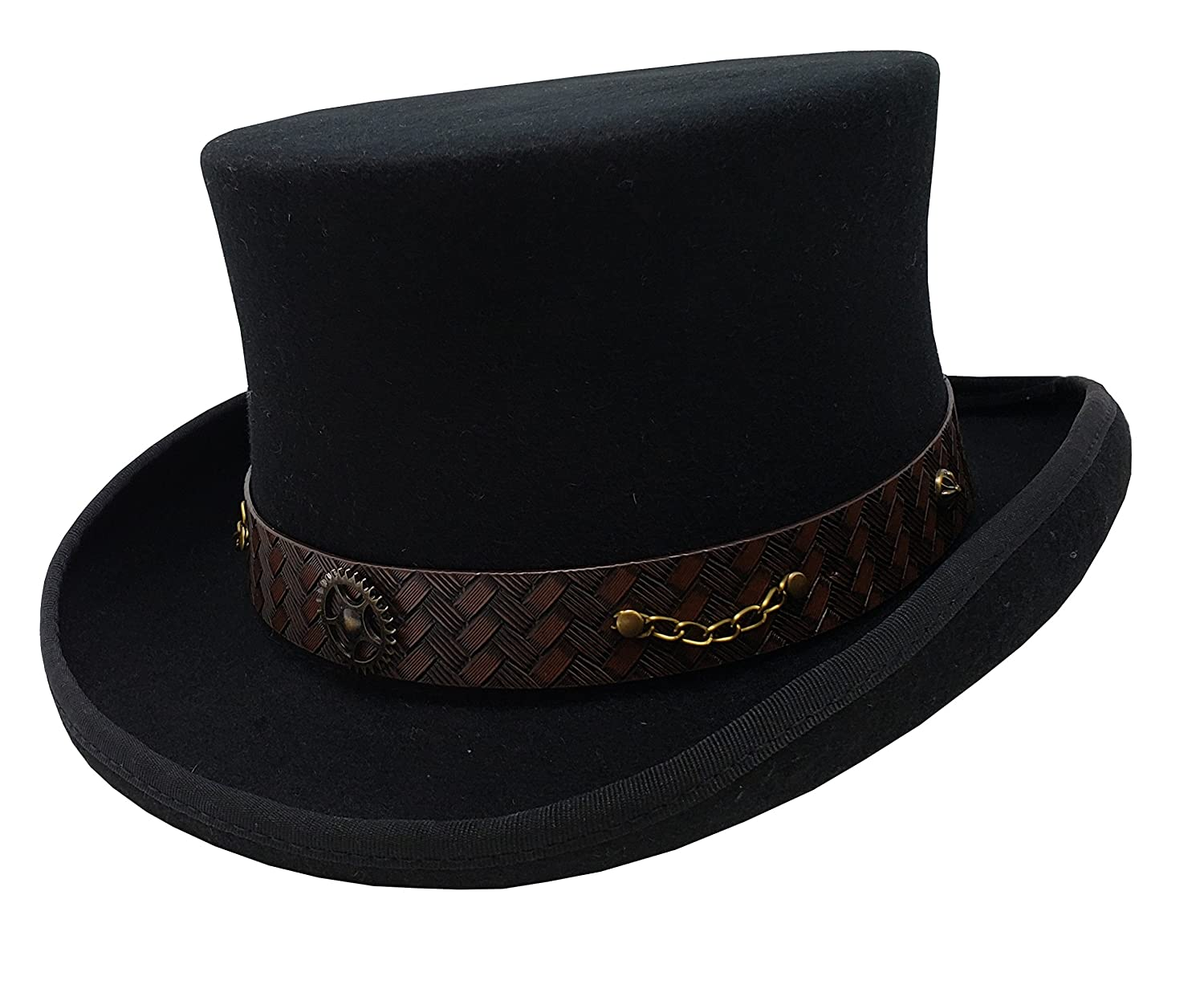 8b9343593e4bc Amazon.com  100% Wool Victorian Western Steampunk Costume Top Hat with  Leather Band and Chain Black  Clothing