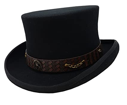 3bf45eca7d09b 100% Wool Victorian Western Steampunk Costume Top Hat with Leather Band and  Chain (S