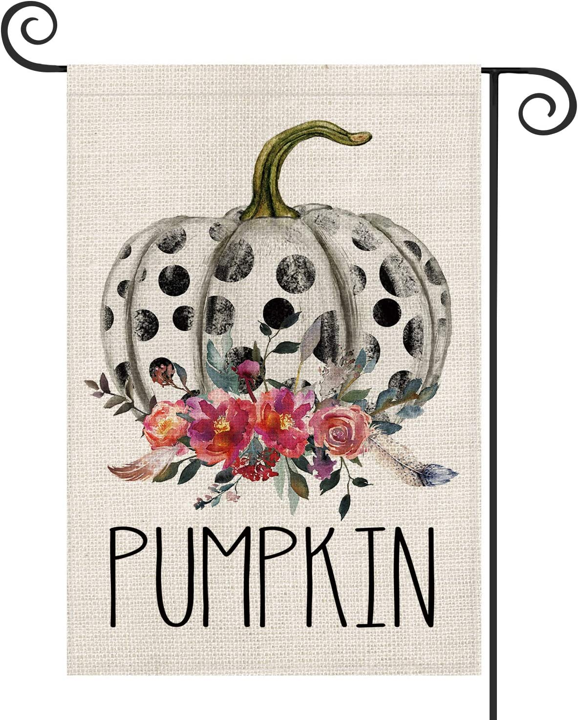 AVOIN Fall Polka Dot Pumpkin Garden Flag Vertical Double Sized Watercolor Flowers Leaves Feathers, Rustic Autumn Thanksgiving Holiday Yard Outdoor Decoration 12.5 x 18 Inch