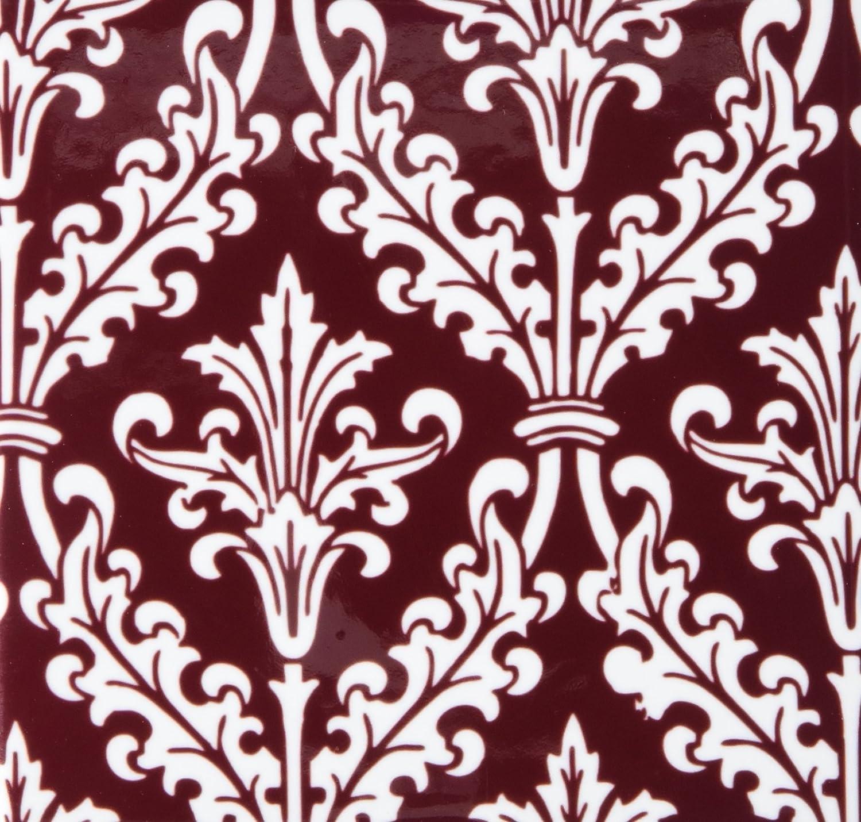 Rikki Knight Burgundy Color Damask Design Art Ceramic Tile 4 by 4-Inch