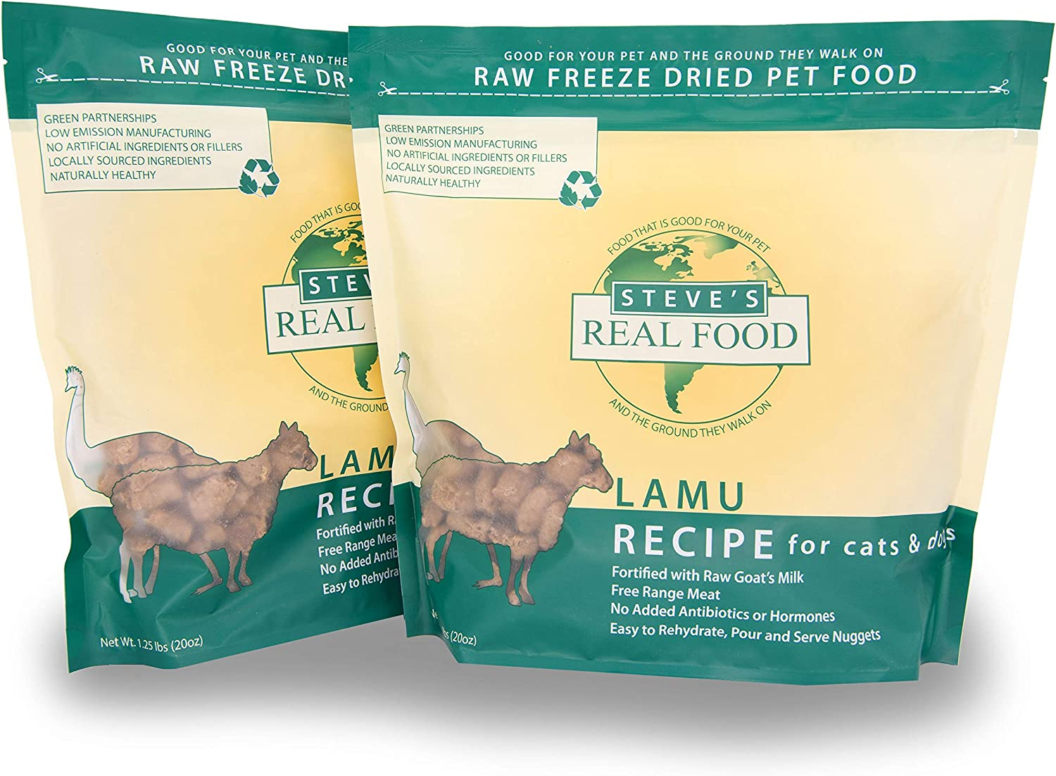 Steve's Real Food Freeze-Dried Raw Food Diet for Dogs and Cats, 2-Pack, Lamu Recipe (Lamb & Emu), 1.25 lbs in Each Bag, Made in The USA, Pour and Serve Nuggets, Vegetarian Fed & Free Range