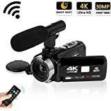 """Camcorder 4K 30MP WIFI Control Digital Camera 3.0"""" Touch Screen Night Vision Video Camcorder Vlogging Camera with External Microphone"""