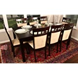 """Formal 9 Piece - 8 Person Butterfly Extension Table 42"""" x 78"""" and Chairs Dining Dinette - 150235 Espresso Brown and Beige Chair"""