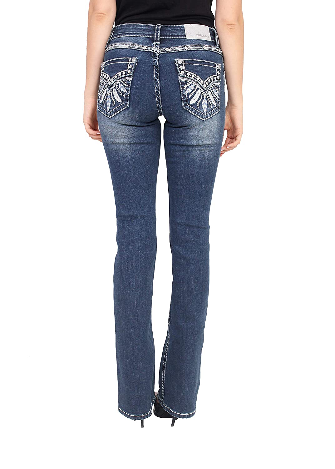 Grace in LA Women Easy Fit Faded Bootcut Jeans with Feather Design and Rhinestones