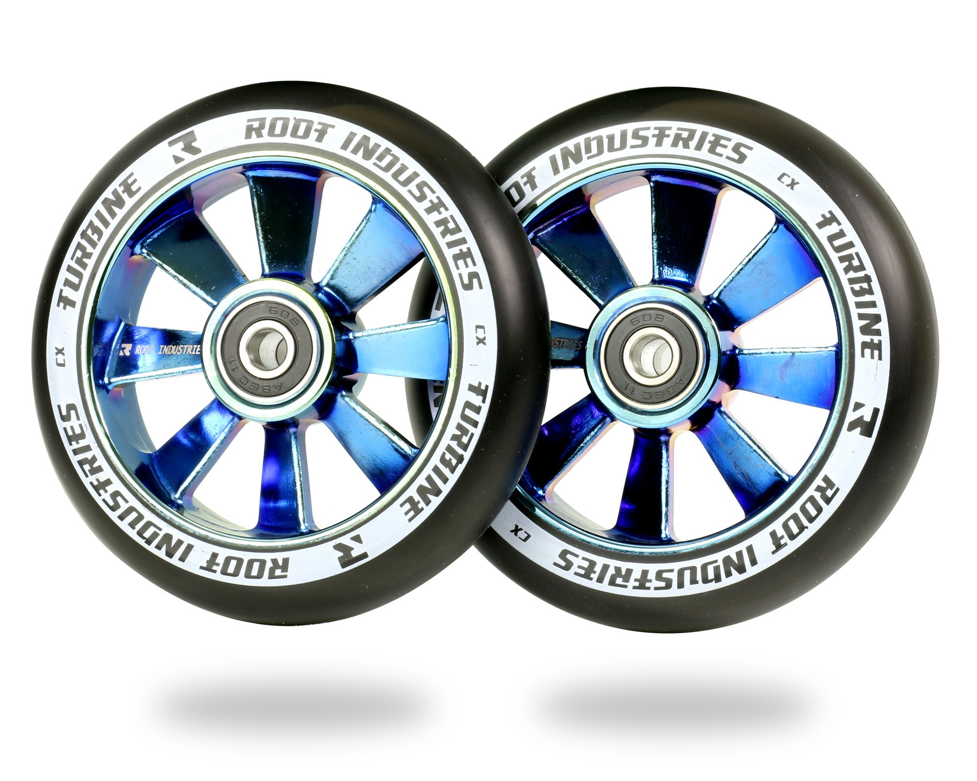 Root Industries 110mm Turbine Wheels - Black Urethane (Pair) (Black/Blu-Ray)