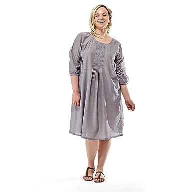 La Cera Women\'s Plus Size Chambray Pleated Dress at Amazon ...