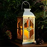 Solar Lantern Outdoor Hyacinth White Decor Antique Metal and Glass Construction Mission Solar Garden Lantern Indoor and…