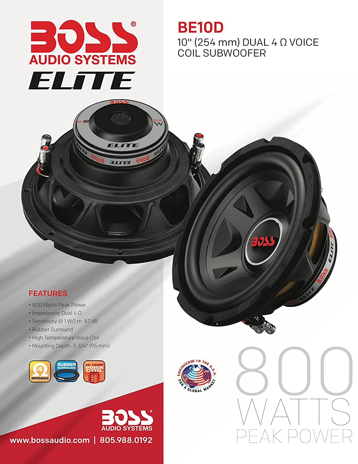 BOSS Audio Systems Elite BE8D 8 Inch Car Subwoofer 600 Watts Maximum Power Dual 4 Ohm Voice Coil Sold Individually