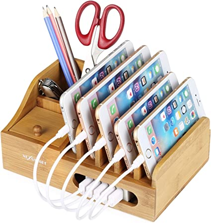 NEXGADGET Base de Carga de Bambú Organizador Cables para ...