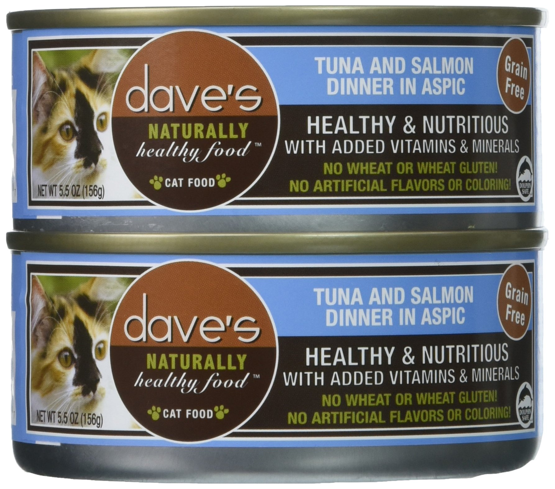 Dave'S Naturally Healthy Tuna And Salmon Dinner In Aspic  For Cats, 5.5 Oz Can (Case Of 24 ) by Dave's Pet Food