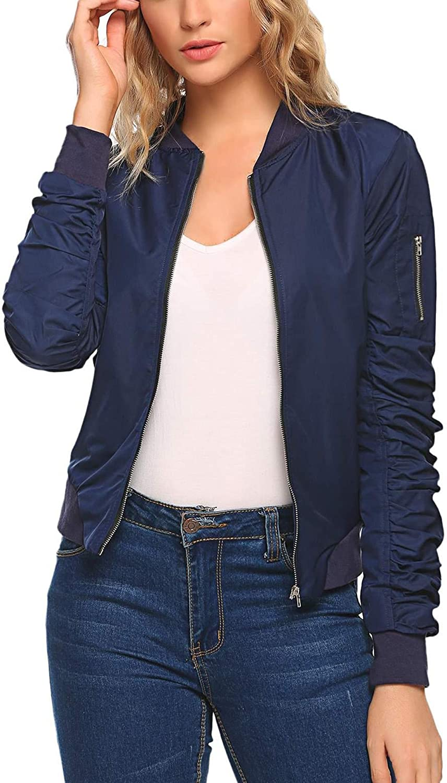 Etuoji Women Fashion Ruched Sleeve Slim Fit Bomber Jacket Vintage Short Biker Jacket Coat