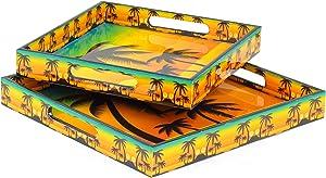 Yellow Sunset Palm Tree Printed Stylish Kitchen Trays   Serving Kitchen Platters   Carry Snacks & Breakfast Food   Authentic Minimal Finish