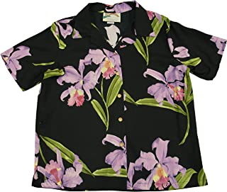 product image for Paradise Found Women's Orchid Corsage Palm Aloha Shirt, Black, XL