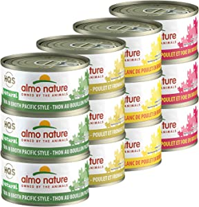 almo nature HQS Natural Variety Pack Grain Free Recipes in Broth - Pacific Tuna(6)/Chicken & Cheese (6)/ Chicken Breast (6)/ Chicken & Liver (6) Canned Wet Cat Food (24 cans in Total 2.47 oz Each)