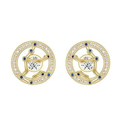 FANZE Women 925 Sterling Sliver CZ Horoscope Zodiac 12 Constellation Pendant Necklace Golden Birthday Gift Jewellery QvFMCe