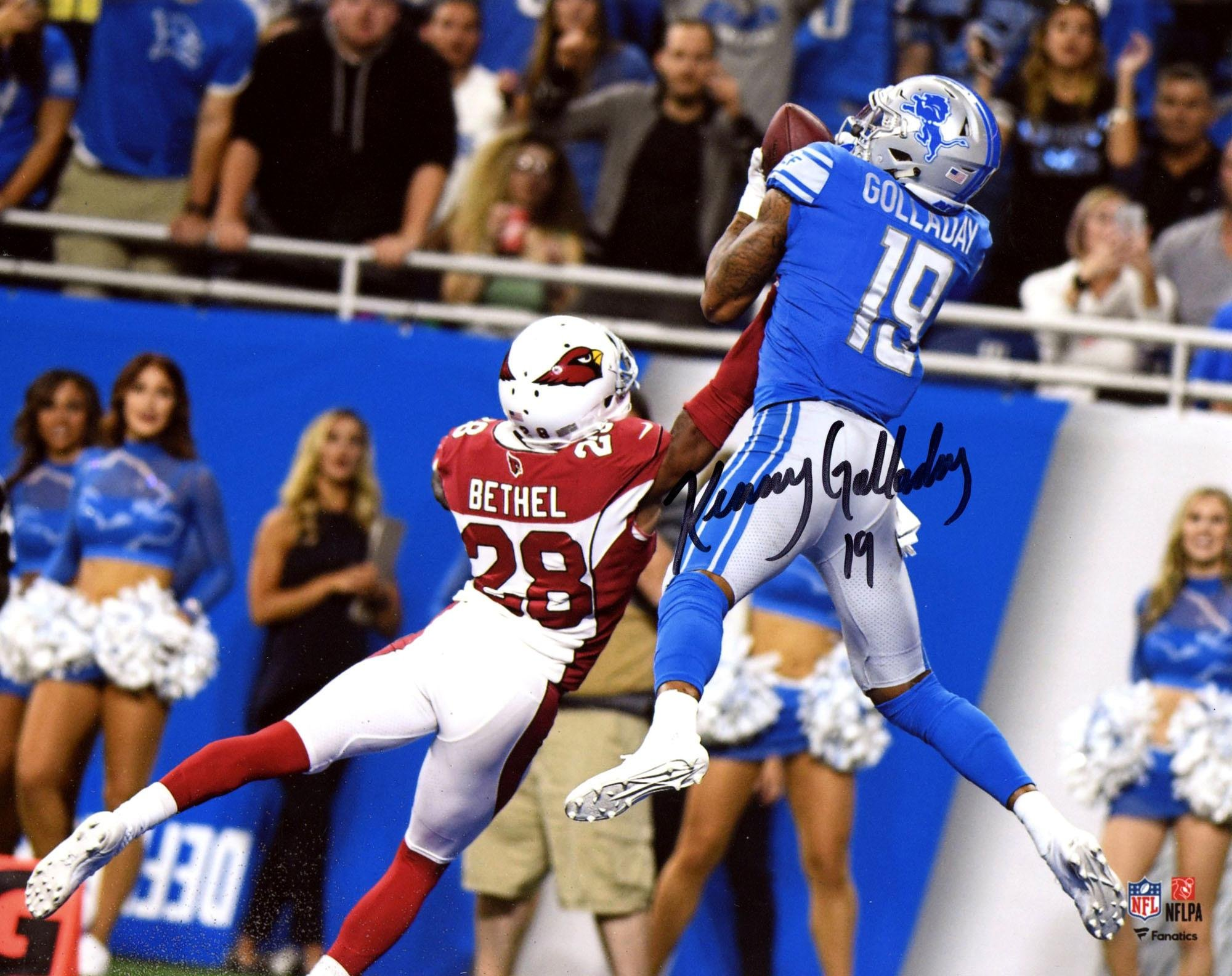 "Kenny Golladay Detroit Lions Autographed 8"" x 10"" Jumping Catch Photograph Fanatics Authentic Certified"