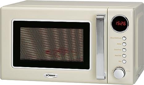Opinión sobre Bomann MWG 2270 CB - Microondas 2 en 1, diseño retro, 700 W, potencia de grill de 1000 W, 20 L, función de temporizador, seguro para niños