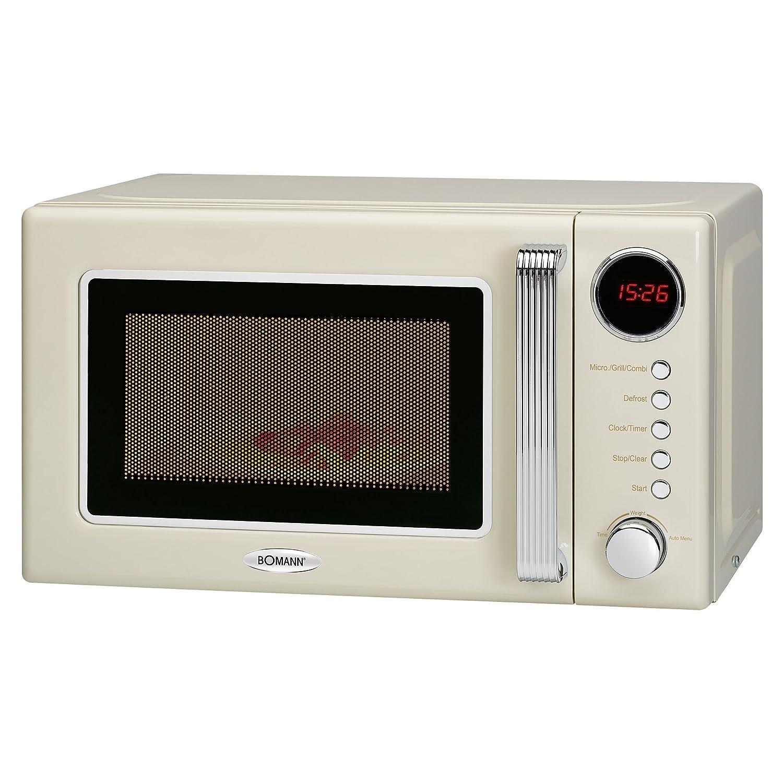 Bomann MWG 2270 CB 2in1 Mikrowelle Retro-Design, 700 W Mikrowellenleistung, 1000 W Grillleistung, 20 L Garraum, Timerfunktion, Kindersicherung