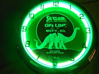 Sinclair Dino Motor OIL 17 Inch Neon Clock