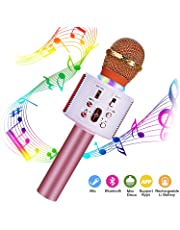 FishOaky Wireless Bluetooth Karaoke Microphone, Portable Kids Microphone Karaoke Player Speaker with LED & Music Singing Voice Recording for Home KTV Kids Outdoor Birthday Party (Rose Gold 01)