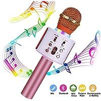 Micrófono Karaoke Bluetooth, FishOaky Portátil Karaoke con Altavoz y LED Luz de Color para KTV Cantar Niños, Compatible con Smartphone Android PC (Blue)