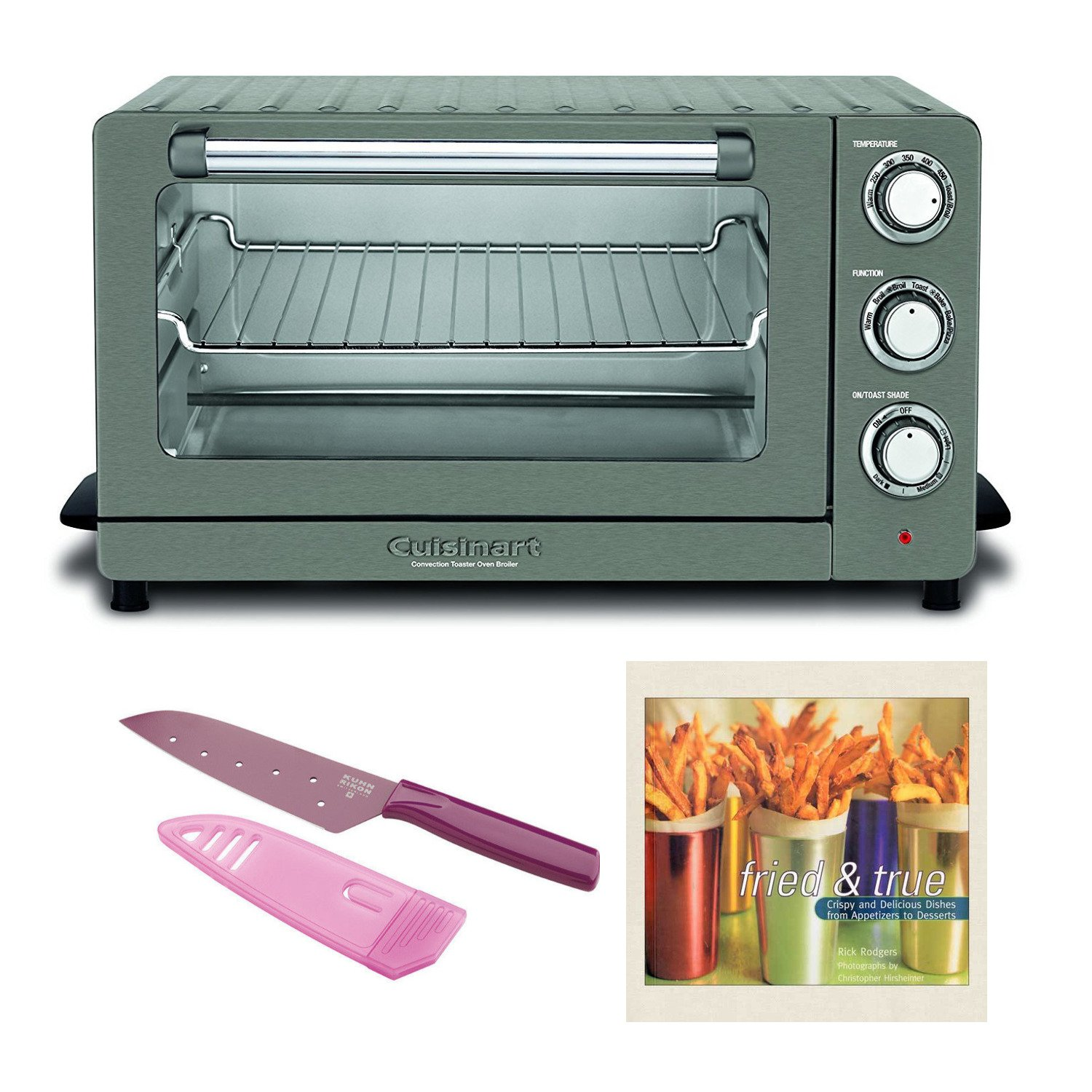 Cuisinart TOB-60N1BKS2 Convection Toaster Oven, Black Stainless Includes Kuhn Rikon Small Santoku Colori Knife (Purple) and Cookbook