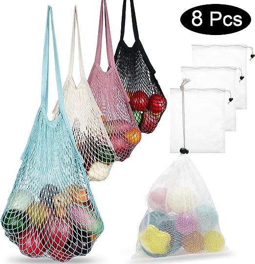 8 bolsas de red de malla de algodón reutilizables con asa larga ...