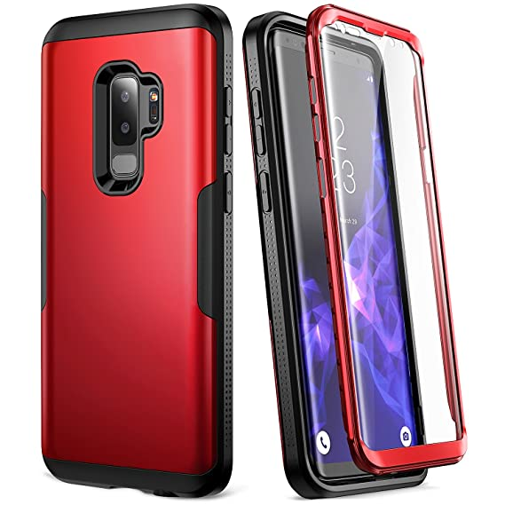 huge discount 3a3be e0f9a Galaxy S9+ Plus Case, YOUMAKER Metallic Red with Built-in Screen Protector  Heavy Duty Protection Shockproof Slim Fit Full Body Case Cover for Samsung  ...