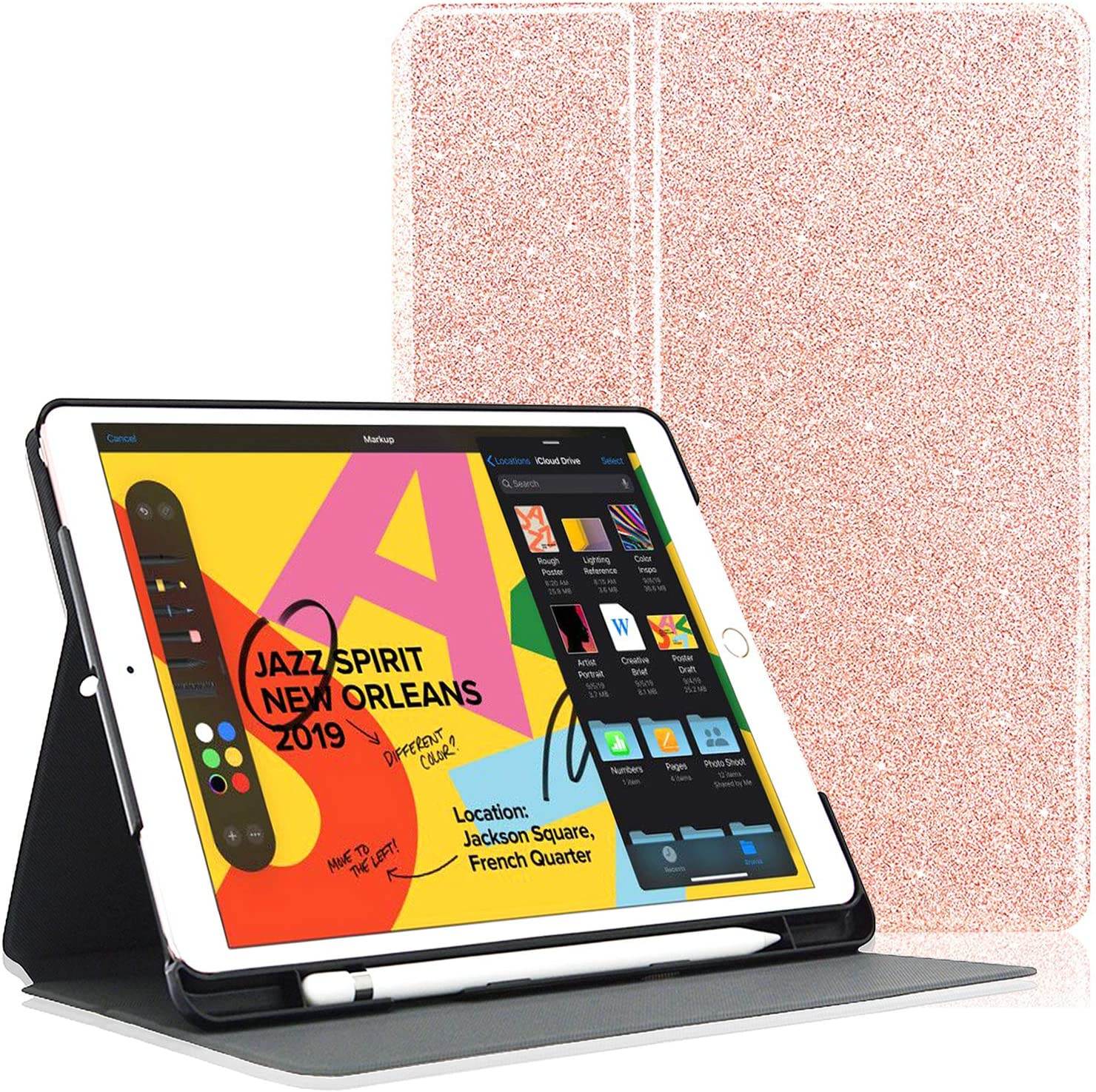 ACdream Case for New iPad 8th Gen 2020 / 7th Generation 2019 10.2 Inch with Pencil Holder, Premium PU Leather Cover with Auto Wake Sleep Feature for iPad Air 3 / iPad Pro 10.5, Glitter Rose Gold