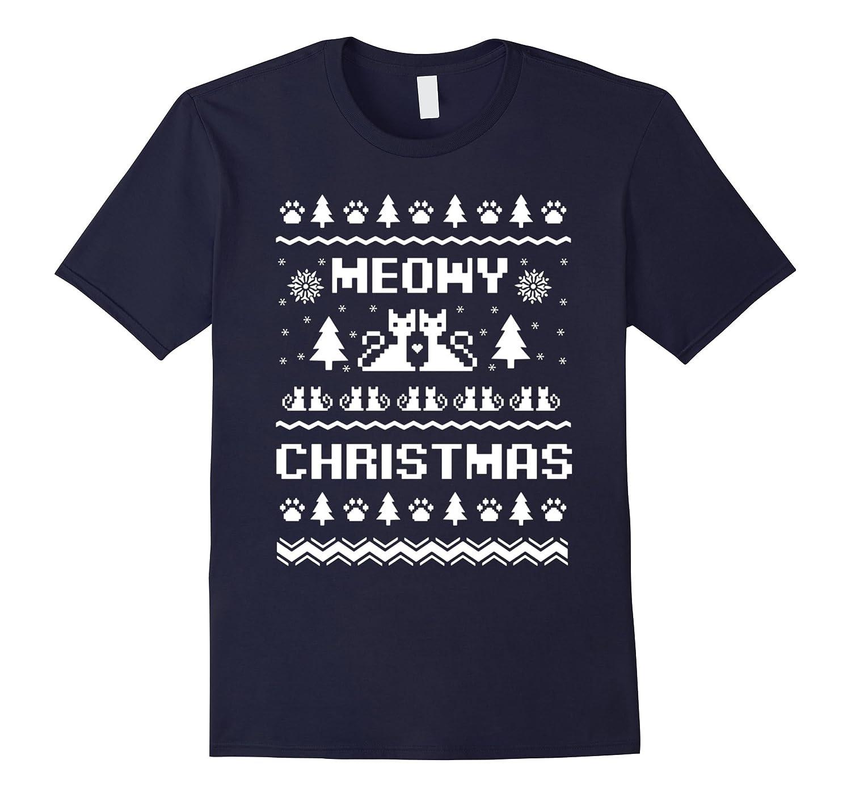 Meowy Christmas T-shirt-azvn